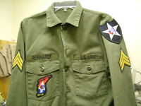 US ARMY VINTAGE JOHN LENNON BEATLES REVOLUTION OLIVE FATIGUE SHIRT REAINHARDT