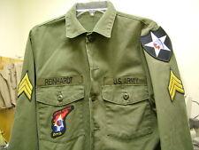 US ARMY VINTAGE JOHN LENNON BEATLES REVOLUTION OD GREEN FATIGUE SHIRT REINHARDT