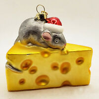 Vintage style mouse on a block of cheese Glass Christmas Ornament