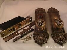 Antique Egypt Cast Bronze Door Knob Entrance Set Penn Cylinder Thumb Turn #722