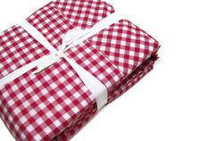 Pottery Barn Organic Cotton Red Gingham Check Plaid King Sheet Set New