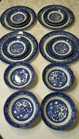 Wood & Sons Porcelain Blue and white 4 Sets ,16 Pieces.marked Made in England...
