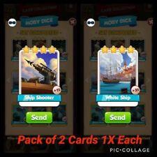 Coin Master Cards 2X ( 1Ship Shooter 1 White Ship)