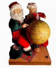 Vtg Grandeur Noel Christmas Musical Motionette Santa & Mrs Clause With Globe