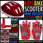 Kids red small skate scoot mini rocker BMX helmet gloves grips sticker kit.
