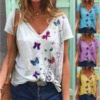 Women Summer V-Neck Short Sleeve Butterfly Print T-Shirt Casual Loose Plus Tops