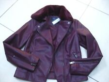 M&s Collection Plum Faux Leather Jacket UK 12 EU 40 Biker Aviator Fur Collar