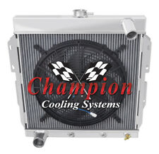 """2 Row Cold Champion Radiator W/ 16"""" Fan for 1955 1956 1957 Ford Thunderbird"""