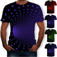 UK Novelty 3D Vortex Digital Printing T-Shirt Men Women Slim Tops Casual Blouse