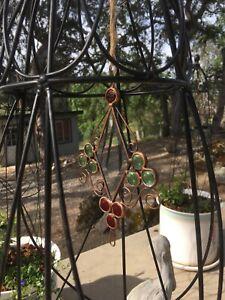 "Beautiful Copper Beveled Glass & Cabochon Sun Catcher Garden Window Art 8x5"" NIB"