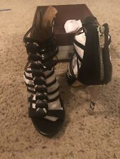 Women's Coach Shoes - Josey Black Veg Leather With Snakeskin Accents - Size 8