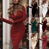 UK Women Deep V Neck Bodycon Dress Dresses Sundress Long Sleeve Evening Party