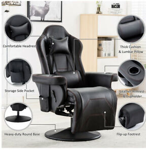 Gaming Chair Racing Recliner Office Computer Chair Swivel Seat w/Footrest 2 Cup