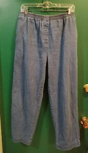 """BASIC EDITIONS stretch sz M W34-38""""  L27"""" pull on GUC women's 100% cotton jeans"""