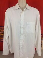 CANALI Men's 16 Dress Shirt White Striped Texture 100% Cotton EUC Rare