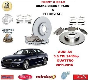 FOR AUDI A4 3.0 TDI QUATTRO 240BHP FRONT + REAR BRAKE DISCS PADS & FITTING KITS