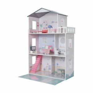 Girls Wooden 3 Levels Dollhouse with Furniture - Barbie or Bratz Doll House AU1