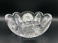 "Vintage American Brilliant Cut Glass Bowl, Pin Wheel Patterns, 8"" D, 3 3/4"" High"