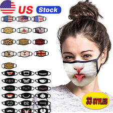 Adult-Unisex Funny Face Mask Protective Covering Washable Reusable