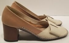 Vintage Andrew Geller Two Tone Leather Chunky Heels Shoes