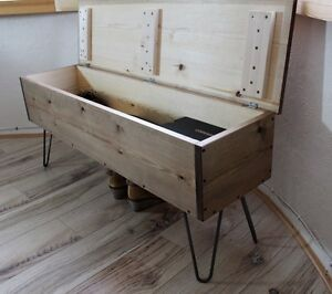 Rustic,Industrial Wooden Storage Bench Seat Hallway Metal Hairpin Legs