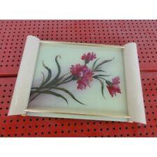 plateau vintage bois peinture verre/1649-24 la57