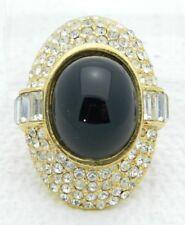 Vintage Ciner Scarf Holder Clear Pave Rhinestones Black Glass Cabochon