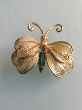 Vintage Jewelry Brooch Pin Butterfly Green Glass Stone Gold Tone Metal
