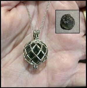 RARE! Certified Genuine natural Czech Moldavite 9.5ct silver cage pendant 👽