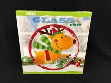 """Christmas Reindeer Holiday Glass Decorative Fused Plate 13"""" Round Pl (FSE010482)"""