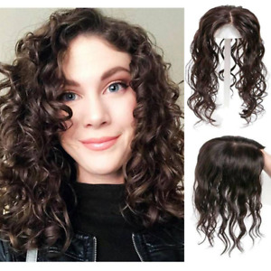 Women Curly Hair Middle Part Topper Ringlets, Medium Chocolate Brown 20 inch