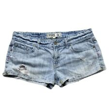 PINK Victorias Secret Low Rise Blue Jean Shorts Womens 8 Light Wash Distressed