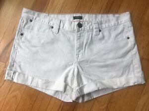 J.CREW White Stretch Denim Jean Shorts Cuffed Frayed Hem Size 12 Women's