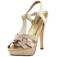 New women's shoes rhinestones stilettos open toe gold evening prom wedding