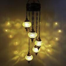 Turkish Moroccan Tiffany Hanging Glass Mosaic Chandelier Lamp Light - UK SELLER