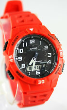 Casio Red and Black SOLAR POWER World Time 5 Alarms 100m Watch AQ-S800W-4BV New