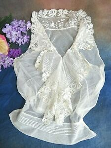 ANTIQUE Victorian TOP bodice shirt front EMBROIDERED NET LACE tulle JABOT collar