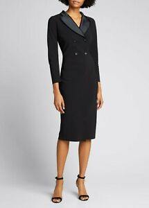 NWT La Petite Robe Chiara Boni Bunny Tuxedo Dress Size 10/46 Italy Black $795