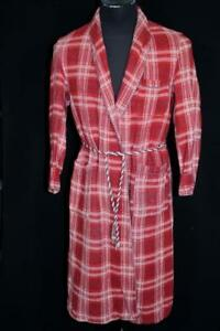 RARE AUTHENTIC VINTAGE 1940'S HEAVY COTTON RED PLAID BEACON ROBE SIZE MEDIUM