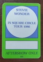 Stevie Wonder In Square Circle Tour 1986 Aftershow Pass - VIP -