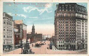Postcard Ephemera Cadillac Square Detroit MI Michigan Hotel Ponchartrain