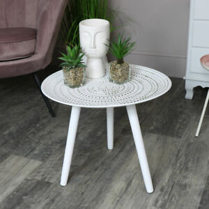 Round white side occasional accent table boho chic living room furniture home