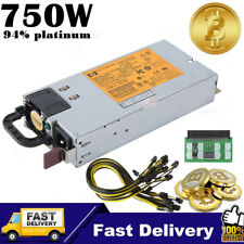 HP 750W Server Power Supply with break out board + PCIE cables mining kit US OB