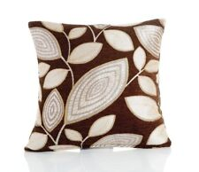 "Set of 4 X London Leaf Chenille Brown 22"" Cushion Covers Slight Seconds 100"