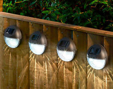 4 Solar Powered LED Fence Lights Patio Wall Driveway Decking Garden Caravan