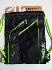 NWT REEBOK Delta Drawstring Black Backpack Boys Sport Cinch Sack Book Bag Neon
