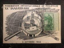 1946 Bruxelles Belgium First Day Postcard Cover FDC Philatelic Congress