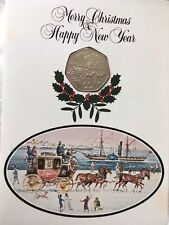 1980 IOM Fifty Pence STAGECOACH ,Proof Coin  Christmas Card ,RARE  card