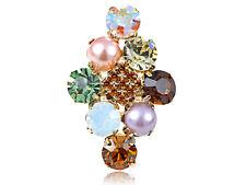 Golden Cluster of Stones w Faux Pearl RhinesTrendy Adj Fashion Charm Rings