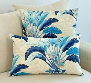 Hampton Style Sun Resistant Indoor/Outdoor Beige and Blue Tropical Cushion COVER